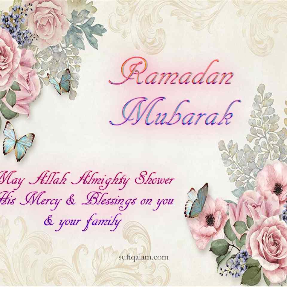 Ramadan Mubarak Greetings Roses Pink soft butterfly